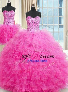 Graceful Three Piece Floor Length Ball Gowns Sleeveless Rose Pink Quinceanera Gown Lace Up