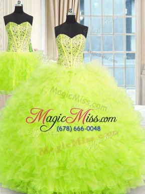 Enchanting Three Piece Sleeveless Lace Up Floor Length Beading and Ruffles Sweet 16 Quinceanera Dress