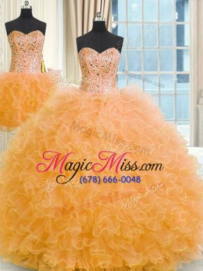 Fashionable Three Piece Floor Length Ball Gowns Sleeveless Orange Quinceanera Gowns Lace Up