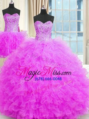 On Sale Three Piece Lilac Ball Gowns Tulle Strapless Sleeveless Beading and Ruffles Floor Length Lace Up Vestidos de Quinceanera