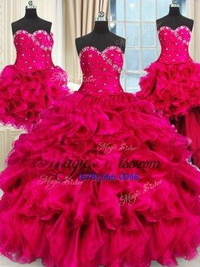 Latest Four Piece Sweetheart Sleeveless Vestidos de Quinceanera Floor Length Beading and Ruffles and Ruching Hot Pink Organza
