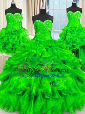 Beauteous Four Piece Sweetheart Sleeveless Quinceanera Gown Floor Length Beading and Ruffles and Ruching Organza