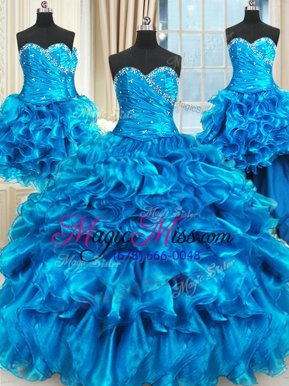 Luxury Four Piece Beading and Ruffles and Ruching Ball Gown Prom Dress Blue Lace Up Sleeveless Floor Length