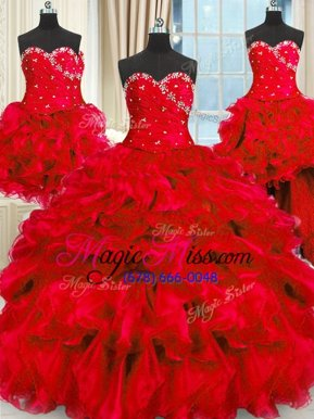 Four Piece Beading and Ruffles and Ruching Quinceanera Dress Red Lace Up Sleeveless Floor Length