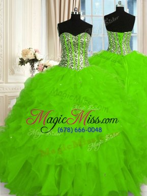 Excellent Organza Lace Up Sweetheart Sleeveless Floor Length 15 Quinceanera Dress Beading and Ruffles