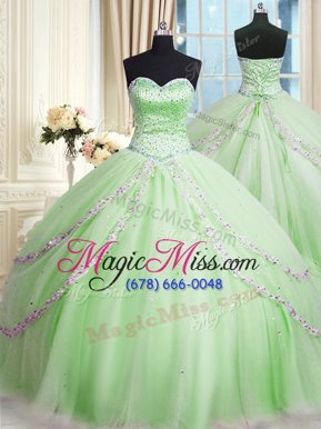 Stylish Sweetheart Sleeveless Court Train Lace Up 15 Quinceanera Dress Apple Green Tulle