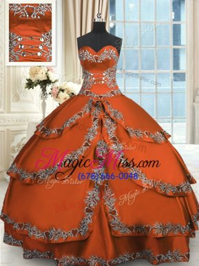 Popular Ruffled Floor Length Rust Red Quinceanera Gowns Sweetheart Sleeveless Lace Up