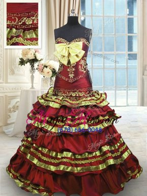Fabulous Wine Red Sweetheart Lace Up Appliques and Embroidery and Ruffled Layers and Bowknot Sweet 16 Dress Sweep Train Sleeveless