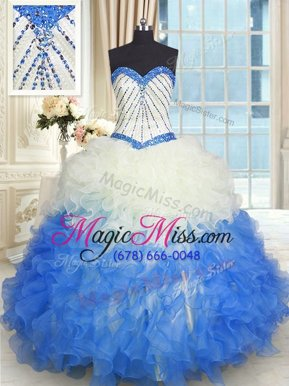 Colorful Blue And White Sweetheart Lace Up Beading and Ruffles Ball Gown Prom Dress Sleeveless