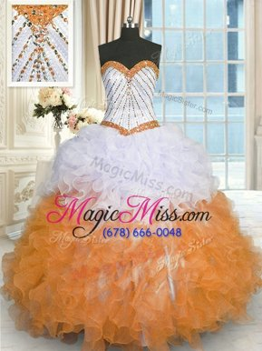 Superior Multi-color Sweetheart Lace Up Beading and Ruffles Quinceanera Dresses Sleeveless