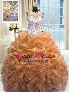 Romantic Multi-color Vestidos de Quinceanera Military Ball and Sweet 16 and Quinceanera and For with Beading and Ruffles Scoop Sleeveless Zipper