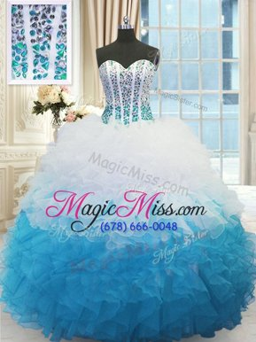 Admirable Floor Length Ball Gowns Sleeveless Blue And White Vestidos de Quinceanera Lace Up