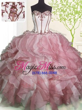 Sophisticated Floor Length Pink And White Ball Gown Prom Dress Organza Sleeveless Ruffles