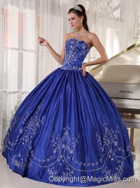 Blue Ball Gown Strapless Floor-length Satin Embroidery Quinceanera Dress