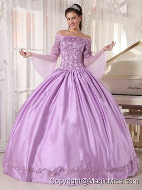Lavender Ball Gown Off The Shoulder Floor-length Taffeta and Organza Appliques Quinceanera Dress
