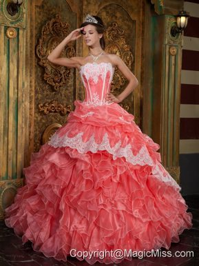 Waltermelon Ball Gown Strapless Floor-length Ruffles Organza Quinceanera Dress