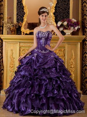 Purple Ball Gown Sweetheart Floor-length Ruffles Organza Quinceanera Dress