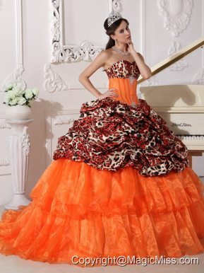 Orange Ball Gown Sweetheart Sweep / Brush Train Leopard and Organza Appliques Quinceanera Dress
