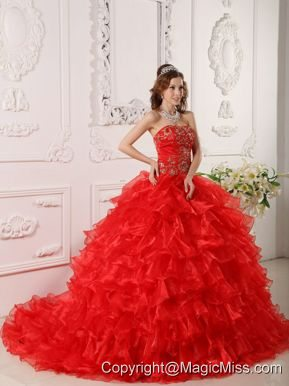 RedBall Gown Strapless Floor-length Organza Ruffles And Embroidery Quinceanera Dress