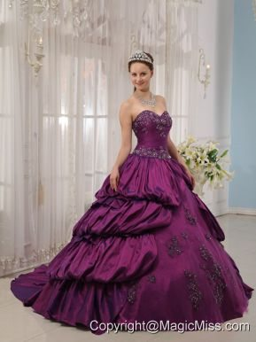 Eggplant Purple Ball Gown Sweetheart Court Train Taffeta Appliques Quinceanera Dress
