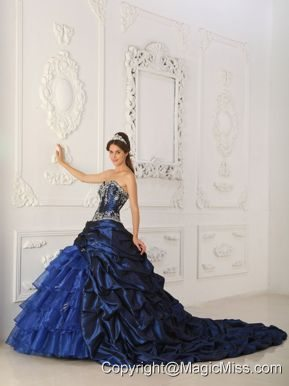 Royal Blue Ball Gown Sweetheart Chapel Train Taffeta and Organza Appliques Quinceanera Dress