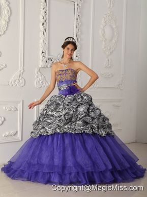 Purple Ball Gown Strapless Chapel Train Zebra and Organza Quinceanera Dress