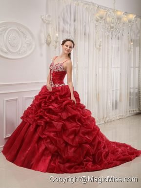 Wine Red Ball Gown Spaghetti Straps Court Train Organza Beading Quinceanera Dress