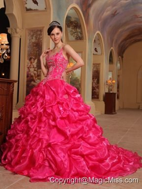 Red Ball Gown Spaghetti Straps Floor-length Organza Embroidery Quinceanera Dress
