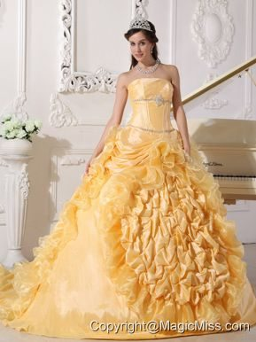 Gold Ball Gown Strapless Chapel Train Taffeta Beading Quinceanera Dress