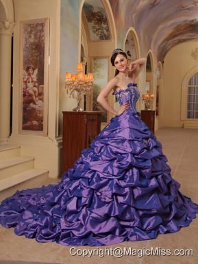 Purple Ball Gown Strapless Court Train Pick-ups Taffeta Quinceanera Dress