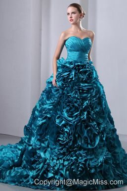 Teal A-Line / Princess Sweetheart Brush Train Taffeta Ruch and Hand Made Flowers Quinceanea Dress