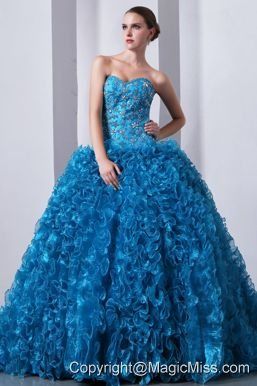 Blue A-Line / Princess Sweetheart Brush Train Organza Beading and Ruffles Quinceanea Dress