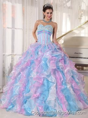 Multi-color Ball Gown Sweetheart Floor-length Organza Appliques Quinceanera Dress