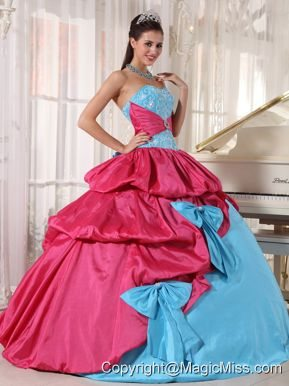 Aqua Blue and Hot Pink Ball Gown Sweetheart Floor-length Taffeta Appliques Quinceanera Dress