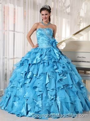 Teal Ball Gown Sweetheart Floor-length Organza Beading Quinceanera Dress