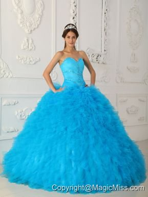Blue Ball Gown Sweetheart Floor-length Satin and Organza Beading Quinceanera Dress