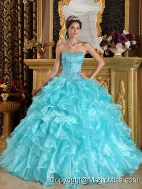 Aqua Blue Ball Gown Sweetheart Floor-length Ruffles Organza Quinceanera Dress