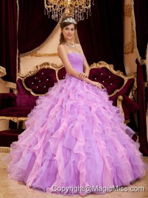 Lavender Ball Gown Sweetheart Floor-length Organza Beading Quinceanera Dress