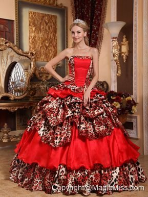 Red Ball Gown Strapless Floor-length Taffeta and Leopard Pick-ups Quinceanera Dress