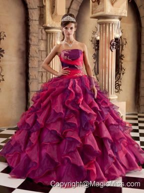 Multi-color Ball Gown Strapless Floor-length Organza Ruffles Quinceanera Dress