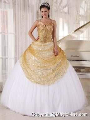 Champagne and White Ball Gown Spaghetti Straps Floor-length Tulle and Sequin Appliques Quinceanera Dress