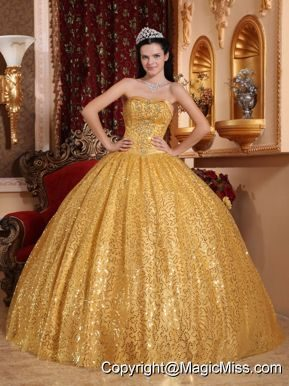 Gold Ball Gown Sweetheart Floor-length Beading Quinceanera Dress