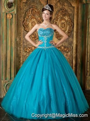 Teal A-Line / Princess Sweetheart Floor-length Beading Tulle Quinceanera Dress