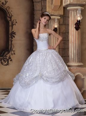 White Ball Gown Strapless Floor-length Pick-ups Sequins Quinceanera Dress