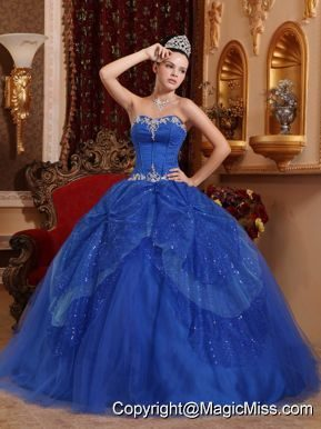 Blue Ball Gown Sweetheart Floor-length Tulle Beading and Appliques Quinceanera Dress