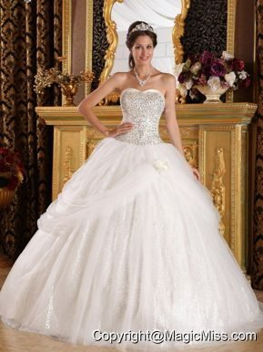 Popular Ball Gown Sweetheart Floor-length Organza and Sequined Quinceanera Dress