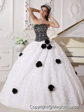 White and Black Ball Gown Strapless Floor-length Special Fabric Sequins and Hand Made Flowers Quinceanera Dress