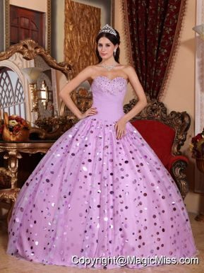 Lavender Ball Gown Sweetheart Floor-length Tulle Sequins Quinceanera Dress