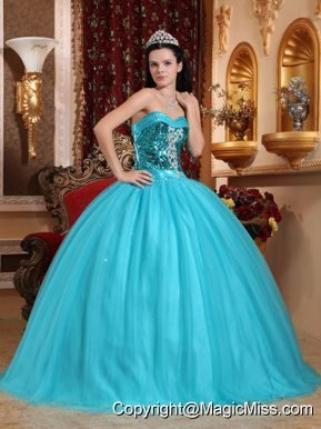 Popular Ball Gown Sweetheart Floor-length Tulle Beading Quinceanera Dress