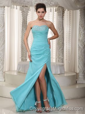 Light Blue Empire Sweetheart Floor-length Chiffon Beading Prom Dress